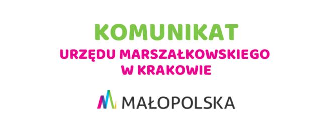 Zawieszenie przyjmowania stron w Urzędzie Marszałkowskim Województwa Małopolskiego